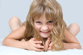 Cute happy playing child — Stock Photo