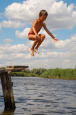 Summer Beach Wtaer Fun Jump — Stock Photo