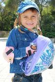 Child with helmet in the park — Foto de Stock