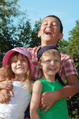 Happy friends kids outdoors — Stock Photo