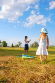 Kids with a kite — Stock Photo