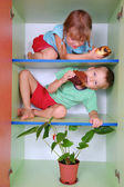 Eating kids — Stock Photo