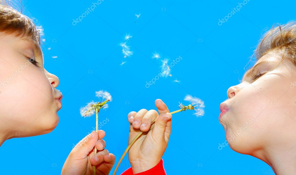Cute 4 year old girls blowing dandelion seeds awaygirls — Stock Photo #1006894