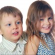 Stock Photo: Kids friends couple isolated