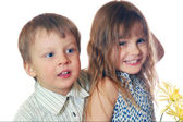 Kids friends couple isolated — Stock Photo