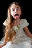Prinses haar tong uitsteekt — Stockfoto