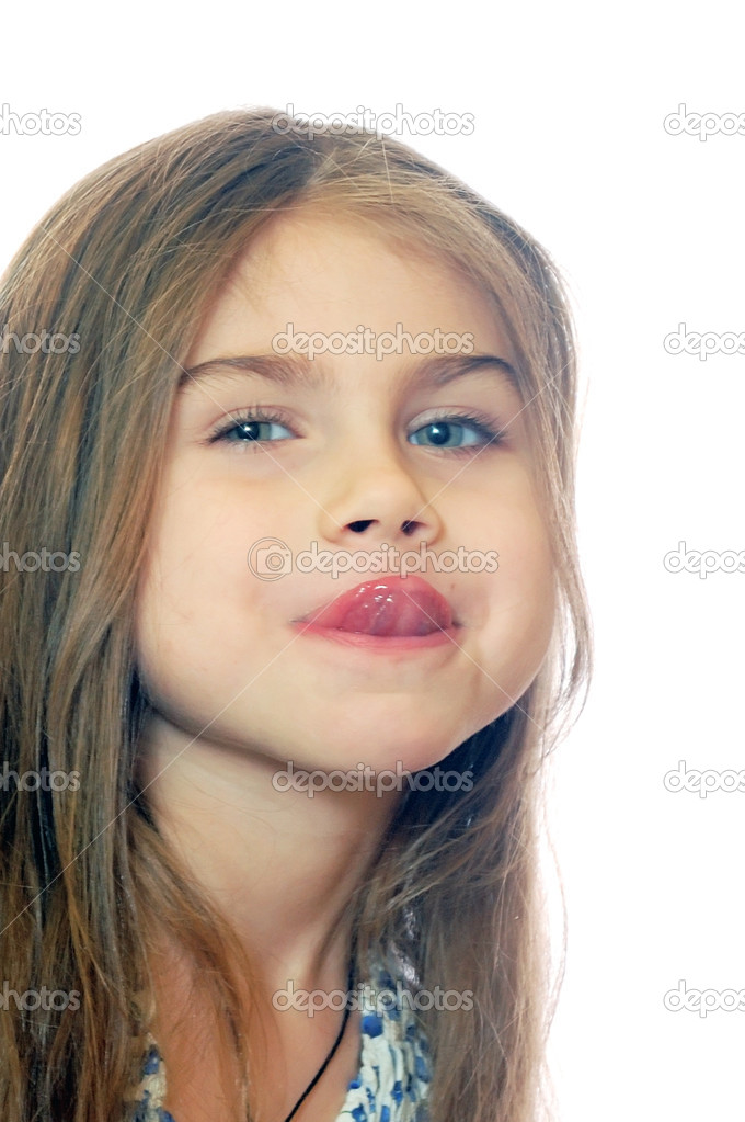 Portrait of a 5 year old girl teasing  Stock Photo #1276460