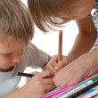 Foto Stock: Children drawing