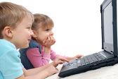 Children playing computer games — Stock Photo