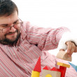 Man playing with toy bricks — Stock Photo