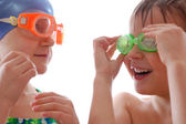 Kids with goggles — Stock Photo