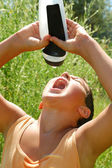 Thisrty child drinking water — Stock Photo