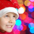 Cute little smiling Christmas hat child — Stock fotografie