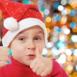 Cute little smiling Christmas hat child — Stock Photo