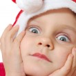 Cute little Christmas hat child — Stock Photo