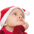 Santa dreamy child girl — Stock Photo