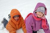 Kids in snow — Stock Photo