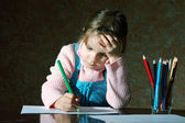 Child doing school homework — Stok fotoğraf