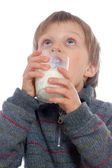 Boy drinking milk — Stock Photo