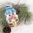 Christmas still-life with snowman and fi — Stock Photo #1005988