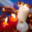 Christmas still life with candles. Soft - Stok fotoraf