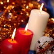 Christmas still life with candles and ga — Stock Photo