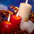 Christmas still life with candles and ga — Stock fotografie
