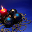 Christmas background with candle and dec — Stock Photo #1007809