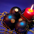 Christmas background with candle and dec — Stok fotoğraf