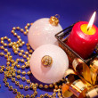 Christmas background with candle and dec — Stock Photo