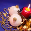 Christmas background with candle and dec — Stock Photo #1008210