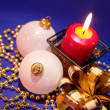 Christmas background with candle and dec - Stok fotoğraf