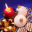 Christmas background with candle and dec — Stock Photo #1008528