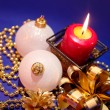 Christmas background with candle and dec — Stock Photo #1008658