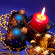 Christmas background with candle and dec — Stock Photo #1008773