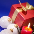 Stock Photo: Christmas background with candle and dec