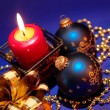 Christmas background with candle and dec - Stock Photo