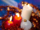 Christmas still life with candles. Soft — Stok fotoğraf