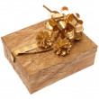 Gift box with ribbon on white. Is not is — Foto de Stock