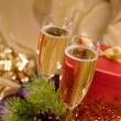 Christmas still-life with champaigne on — Stock Photo #1013858