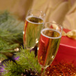 Christmas still-life with champaigne on - Stock Photo