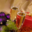 Christmas still-life with champaigne on — Stock Photo #1013946