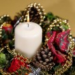 Xmas still life on golden background. - Foto de Stock  