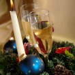 Christmas still life with candle and cha — Stock Photo
