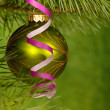 Xmas green ball on the green background. — Stock Photo #1016426