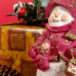 Xmas still-life on red background — Stock Photo