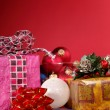 Stock Photo: Xmas still-life on red background