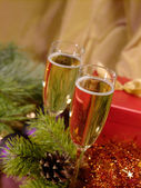 Christmas still-life with champaigne on — Stock Photo
