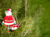 Xmas still-life with fir tree and toys — Stock Photo