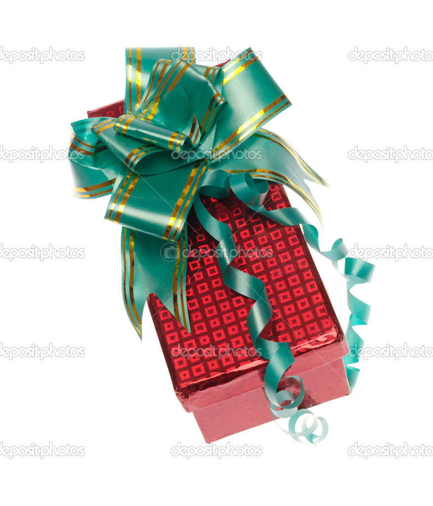 Gift box with ribbon on white. Is not isolated, just shot on white — Stock Photo #1012316